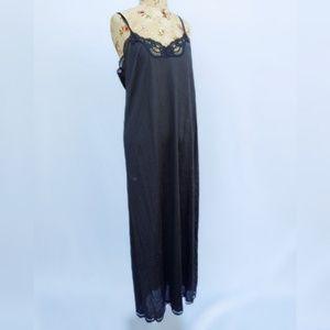 Maxi length black nightgown slip by vanity fair.